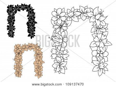 Vintage letter n with decorative flowers