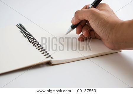Sign and write down on white paper.