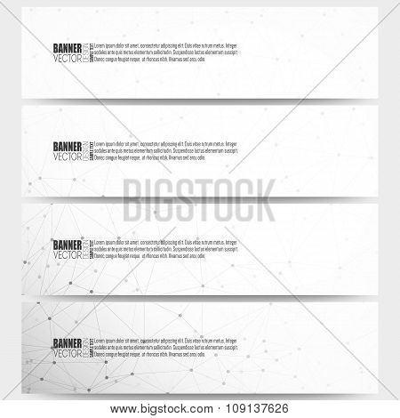 Set of modern vector banners. Molecular structure design, scientific background