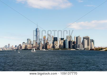Downtown Of New York Over Hudson River.