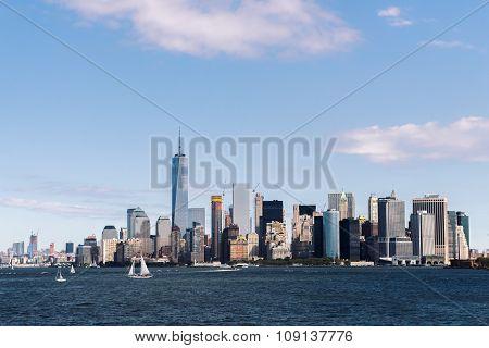 Skyline Of New York City Manhattan Over Hudson River.