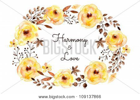 Ready-made beautiful card of yellow flowers and leaves