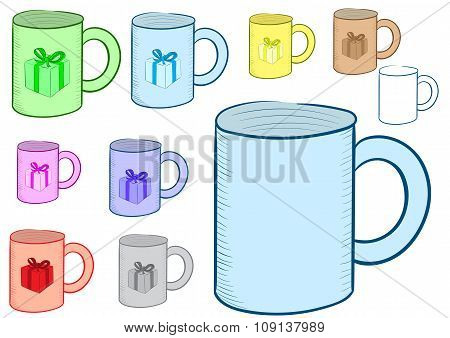 Clipart of a mug with gift