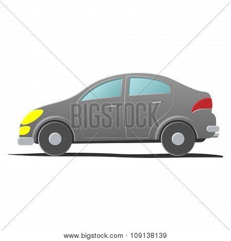 Hatchback car. Cartoon illustration