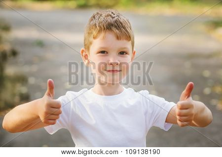 Portrait Of Smiling Boy Holding His Thumb Up, Horizontal Image Outdoor.