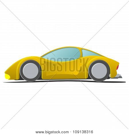 Cartoon yellow sportscar illustration