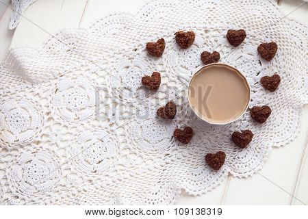 Cookies Heart, Bright Cups, Valentines Day, Love, Light Background