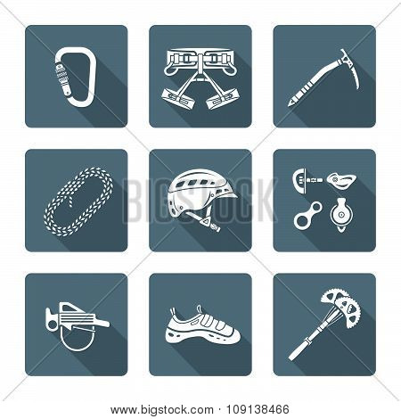 White Monochrome Various Alpinism Tools Icons Collection.