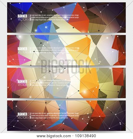 Set of modern vector banners. Abstract multicolored background. Scientific digital design, science i