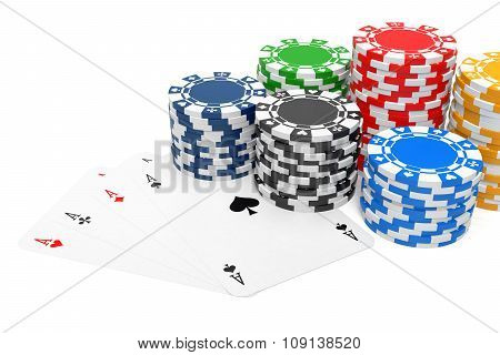 Four Of A Kind And Gambling Chips