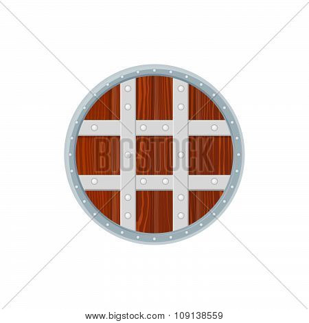 Flat Style Colored Medieval Round Shield Icon Illustration.