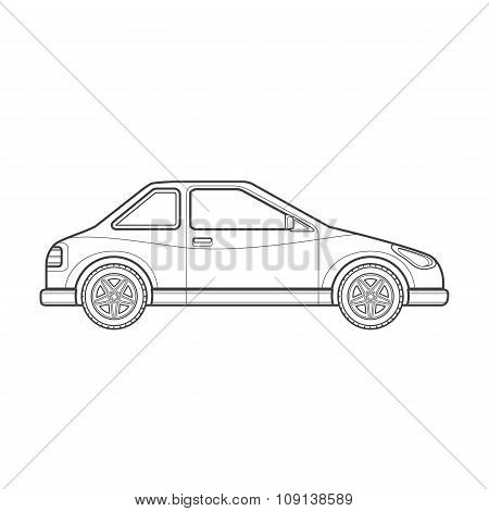 Outline Coupe Car Body Style Illustration Icon.