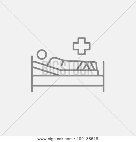 Patient lying on the bed line icon for web, mobile and infographics. Vector dark grey icon isolated on light grey background.