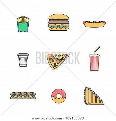 Colored Outline Various Fast Food Icons Collection.