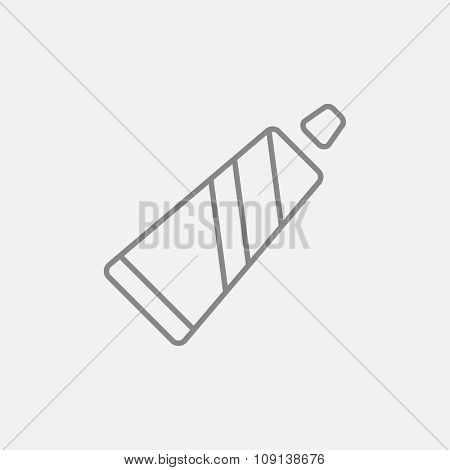 Tube of toothpaste line icon for web, mobile and infographics. Vector dark grey icon isolated on light grey background.