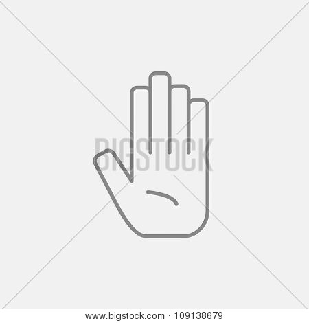 Medical glove line icon for web, mobile and infographics. Vector dark grey icon isolated on light grey background.