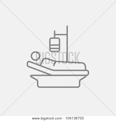 Patient lying on the bed with drop counter line icon for web, mobile and infographics. Vector dark grey icon isolated on light grey background.