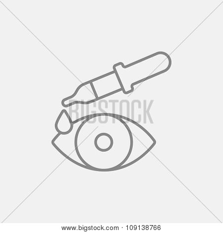 Pipette and eye line icon for web, mobile and infographics. Vector dark grey icon isolated on light grey background.