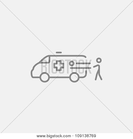 Man pushing stretchers with patient in ambulance car line icon for web, mobile and infographics. Vector dark grey icon isolated on light grey background.