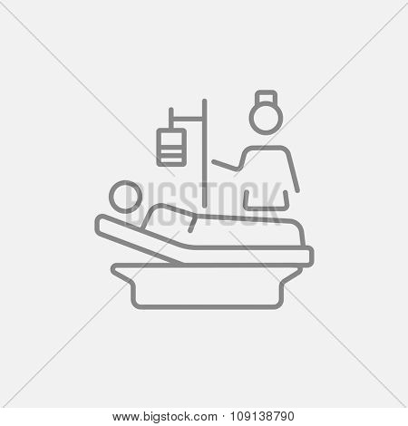 Nurse attending a patient lying on the bed line icon for web, mobile and infographics. Vector dark grey icon isolated on light grey background.