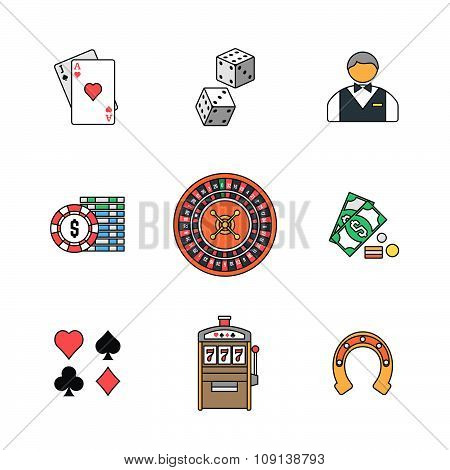 Colored Outline Various Gambling Icons Collection.