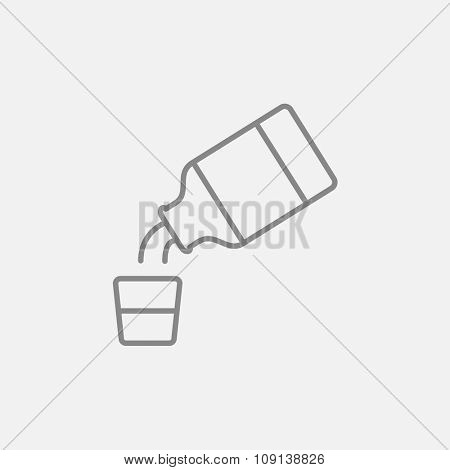 Medicine and measuring cup line icon for web, mobile and infographics. Vector dark grey icon isolated on light grey background.
