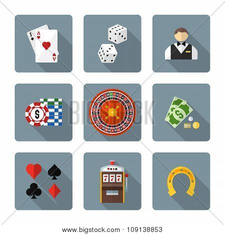 Flat Style Colored Various Gambling Icons Collection.
