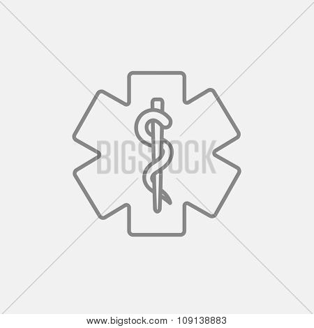 Medical symbol line icon for web, mobile and infographics. Vector dark grey icon isolated on light grey background.