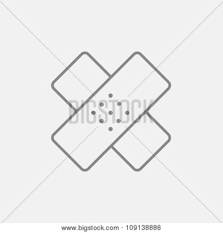 Adhesive bandages line icon for web, mobile and infographics. Vector dark grey icon isolated on light grey background.