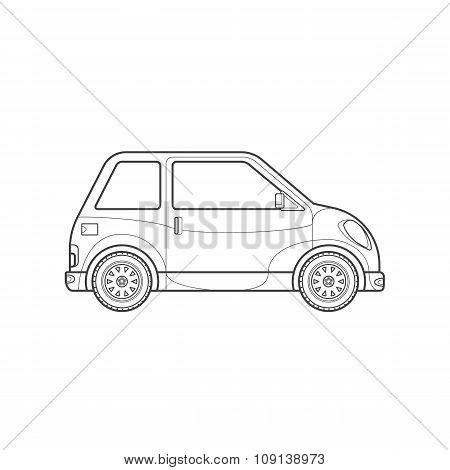 Outline Compact City Car Body Style Illustration Icon.