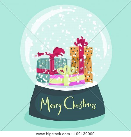 Colorful Christmas poster with cartoon snow globe