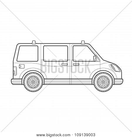Outline Van Car Body Style Illustration Icon.