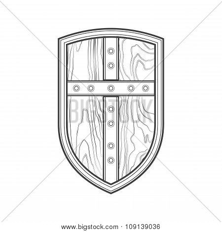 Outline Medieval Shield With Cross Icon Illustration.