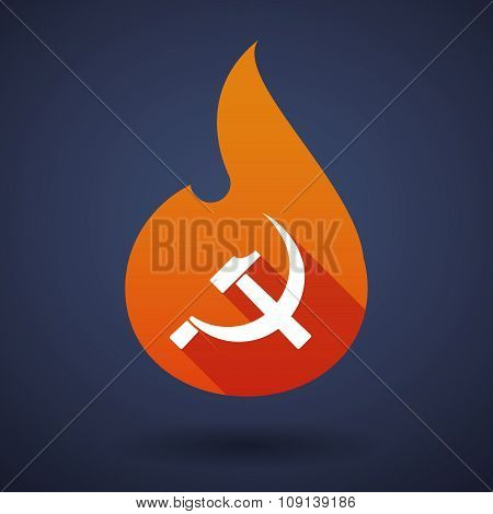 Long Shadow Vector Flame Icon With  The Communist Symbol