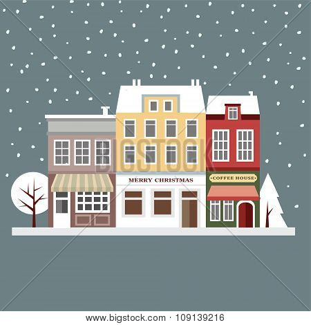 Cute Christmas Card With Houses, Winter Snowy Scene, Flat Design, Vector