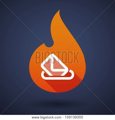 Long Shadow Vector Flame Icon With  A Ballot Box