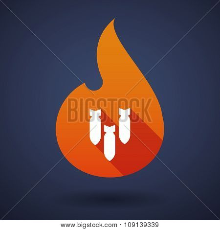 Long Shadow Vector Flame Icon With Three Bombs Falling