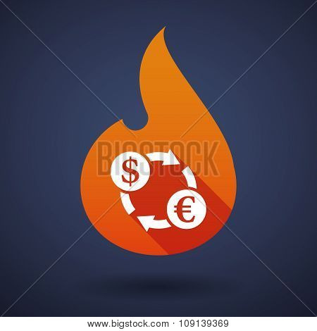 Long Shadow Vector Flame Icon With A Dollar Euro Exchange Sign