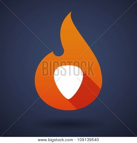 Long Shadow Vector Flame Icon With A Plectrum