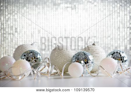 Christmas balls on shiny backgroun