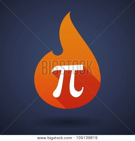 Long Shadow Vector Flame Icon With The Number Pi Symbol
