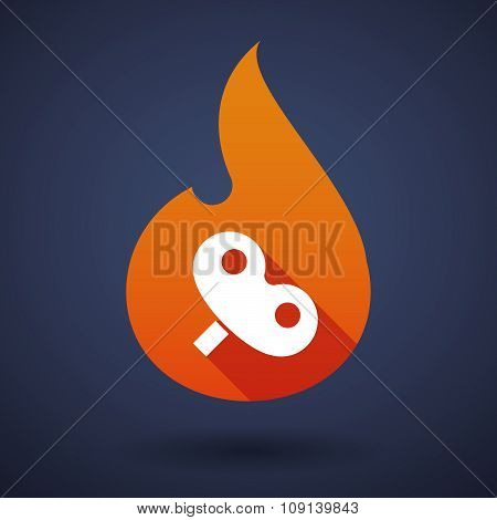 Long Shadow Vector Flame Icon With A Toy Crank