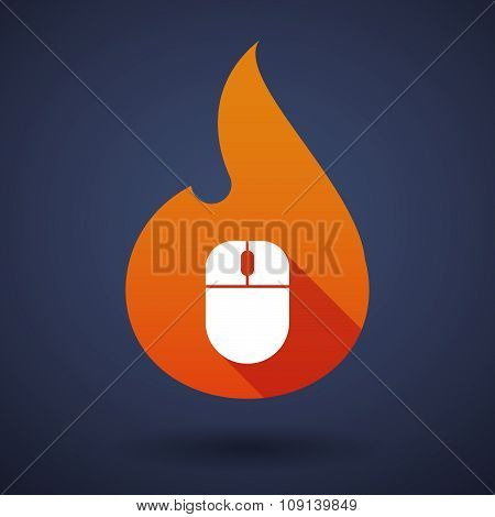 Long Shadow Vector Flame Icon With A Wireless Mouse