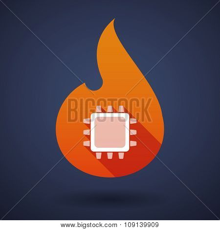 Long Shadow Vector Flame Icon With A Cpu
