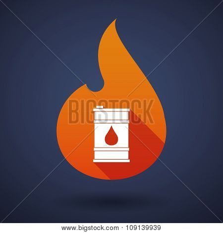 Long Shadow Vector Flame Icon With A Barrel Of Oil
