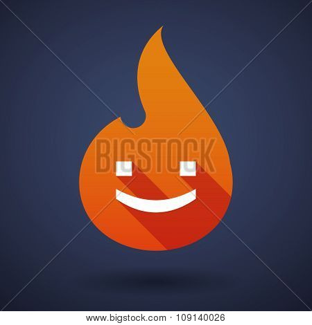 Long Shadow Vector Flame Icon With A Smile Text Face