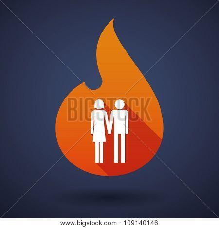 Long Shadow Vector Flame Icon With A Heterosexual Couple Pictogram