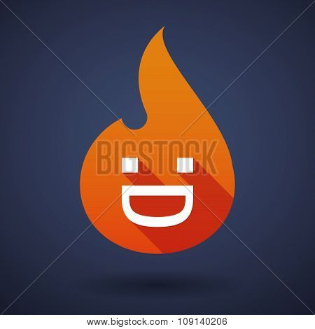 Long Shadow Vector Flame Icon With A Laughing Text Face