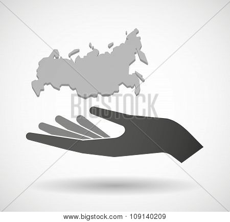Isolated Vector Hand Giving  A Map Of Russia