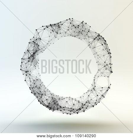 Ring. Molecular lattice. Connection structure. 3d Vector Illustration.